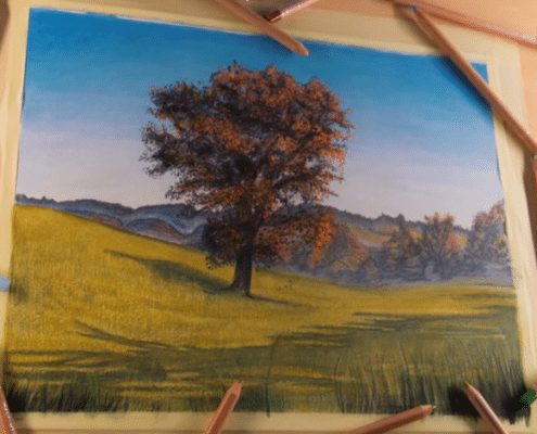 Beautiful Fall Landscape Colored Pencil Drawing Time Lapse