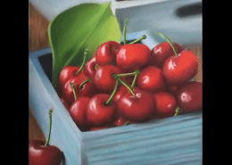 Cherries in Colored Pencil with Powder Blender Melissa Mancuso Art