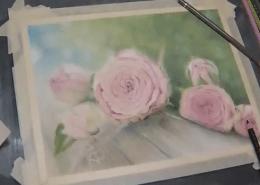Muh Rose 3- polychromos colored pencil, powder blender, titanium white, UART sanded paper