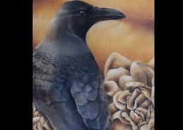 Raven and roses in colored pencil and powdered blender