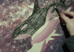 Surreal Orcas & Earth in Colored Pencil w/ Powder Blender - Lachri